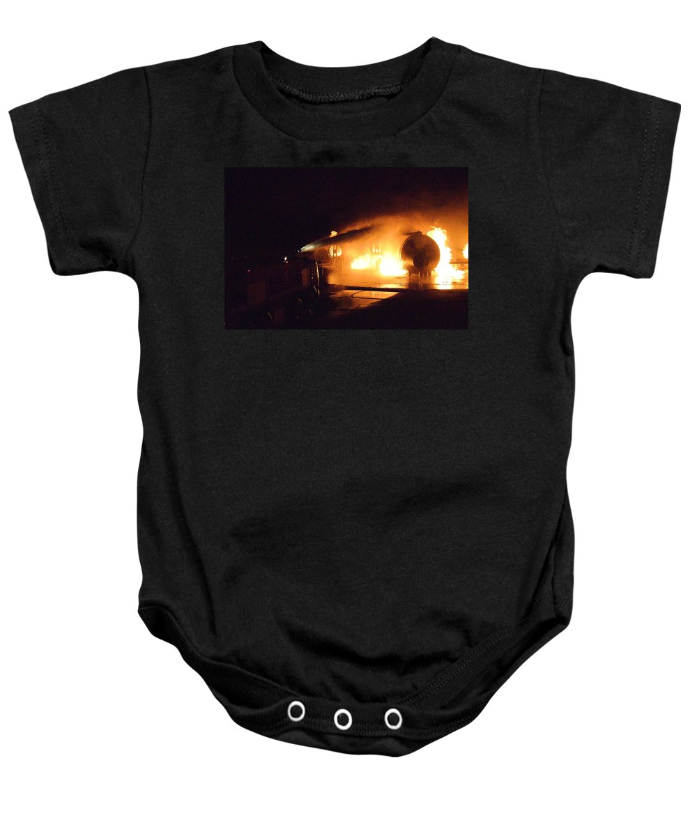 Fire Baby Onesie featuring the photograph Plane Burning by Aaron Martens