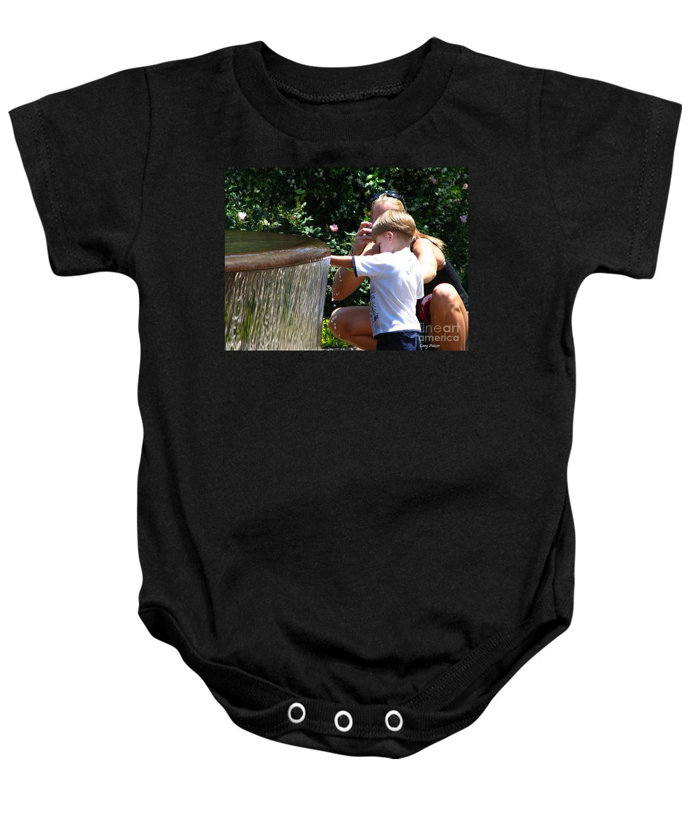Art For The Wall...patzer Photography Baby Onesie featuring the photograph Playing In Water by Greg Patzer