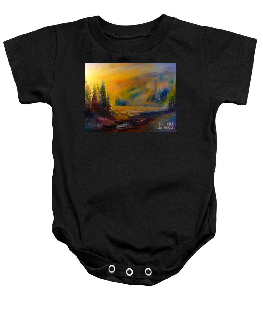 Landscape Baby Onesie featuring the painting Pleasant Evening by Pusita Gibbs