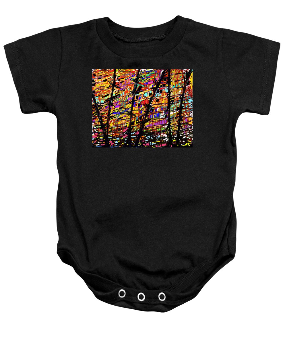 Abstract Baby Onesie featuring the digital art Pollock Updated by Ian MacDonald