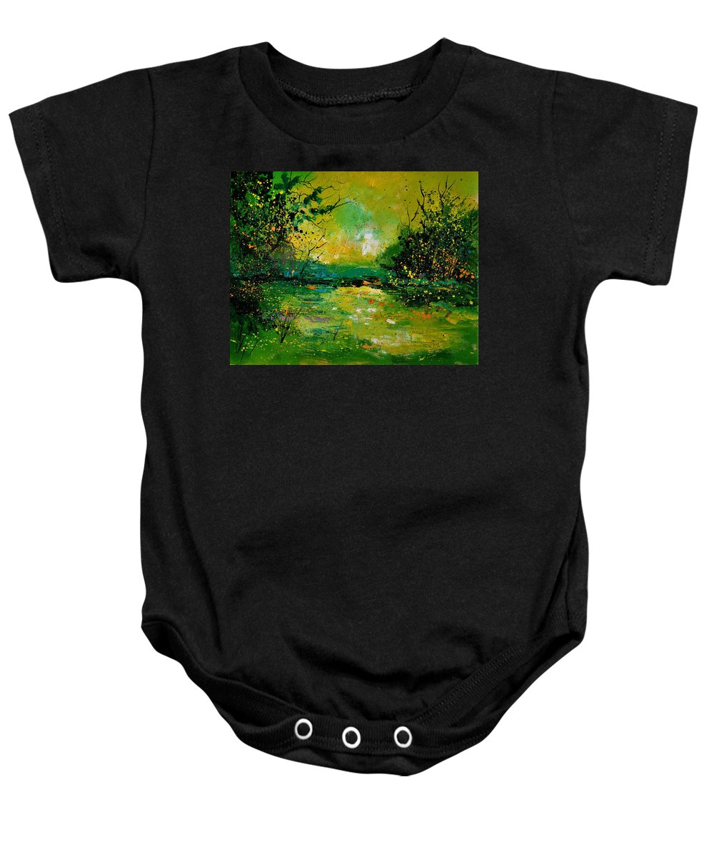 Landscape Baby Onesie featuring the painting Pond 5431 by Pol Ledent