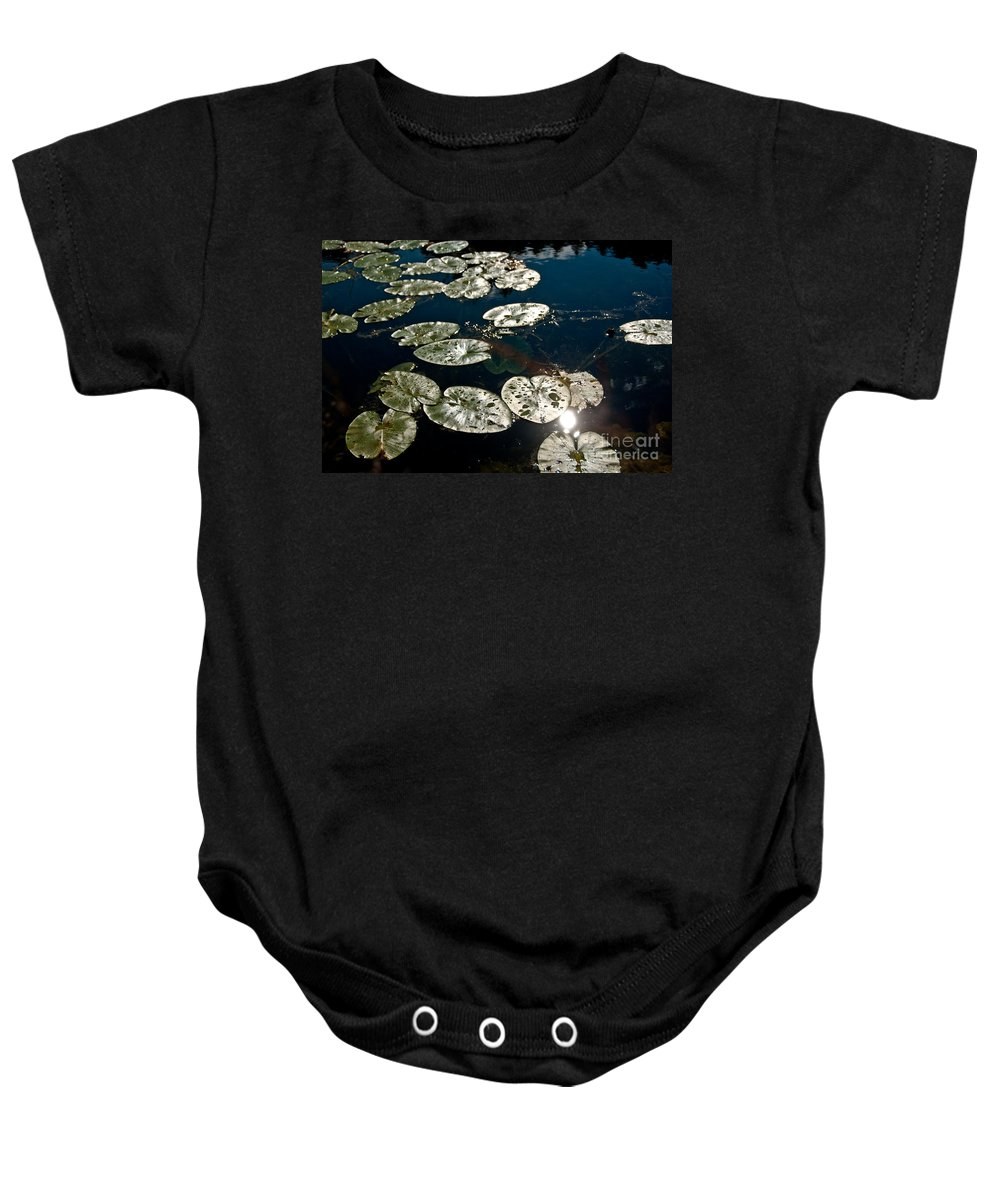 Lily Pads Baby Onesie featuring the photograph Pond Sunset by Cheryl Baxter