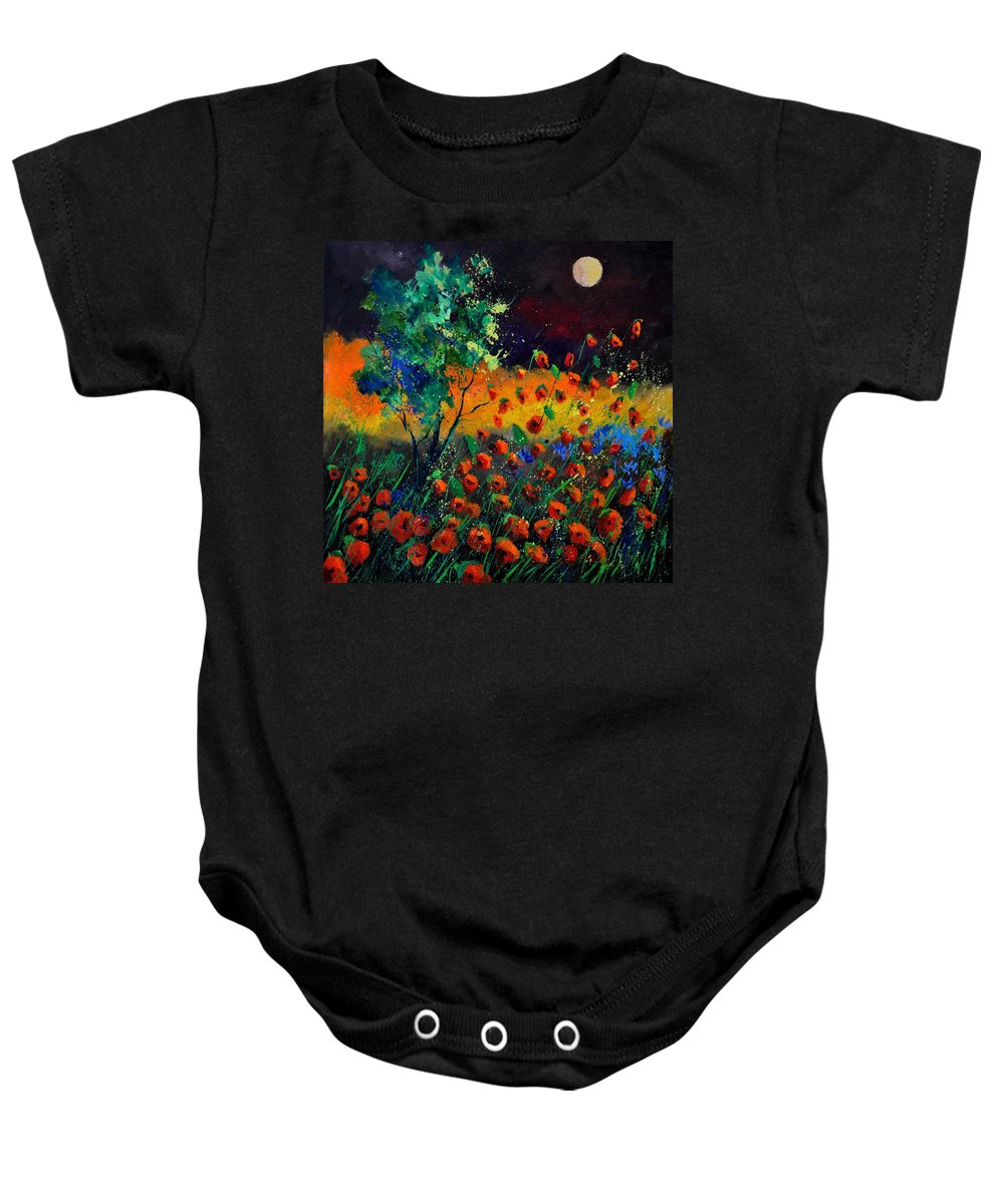 Landscape Baby Onesie featuring the painting Poppies 774111 by Pol Ledent
