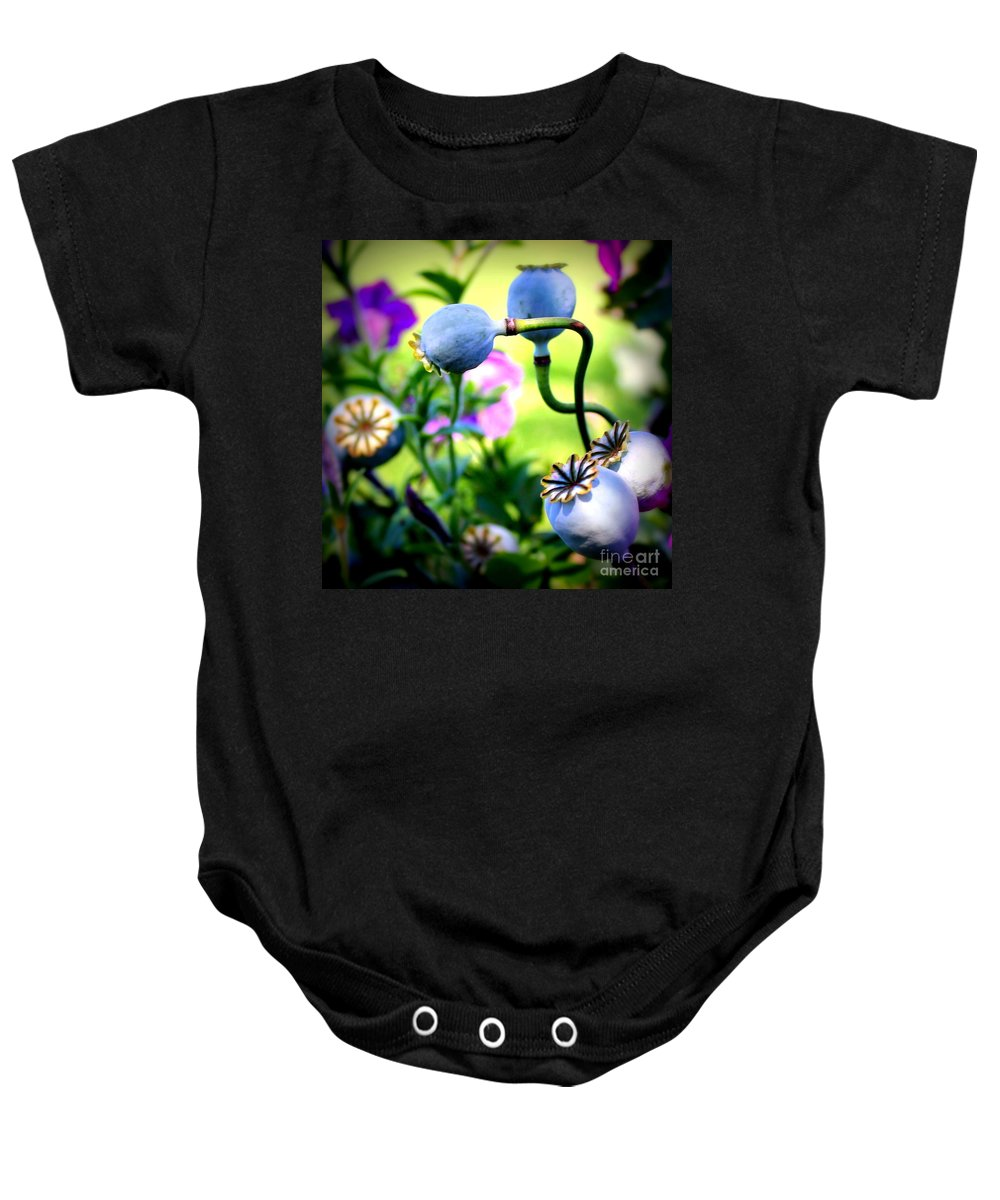 Poppy Baby Onesie featuring the photograph Poppy Pods And Curvy Stems. by Renee Croushore