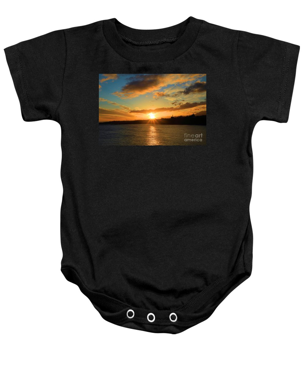 Port Angles Baby Onesie featuring the photograph Port Angeles Sunburst by Adam Jewell