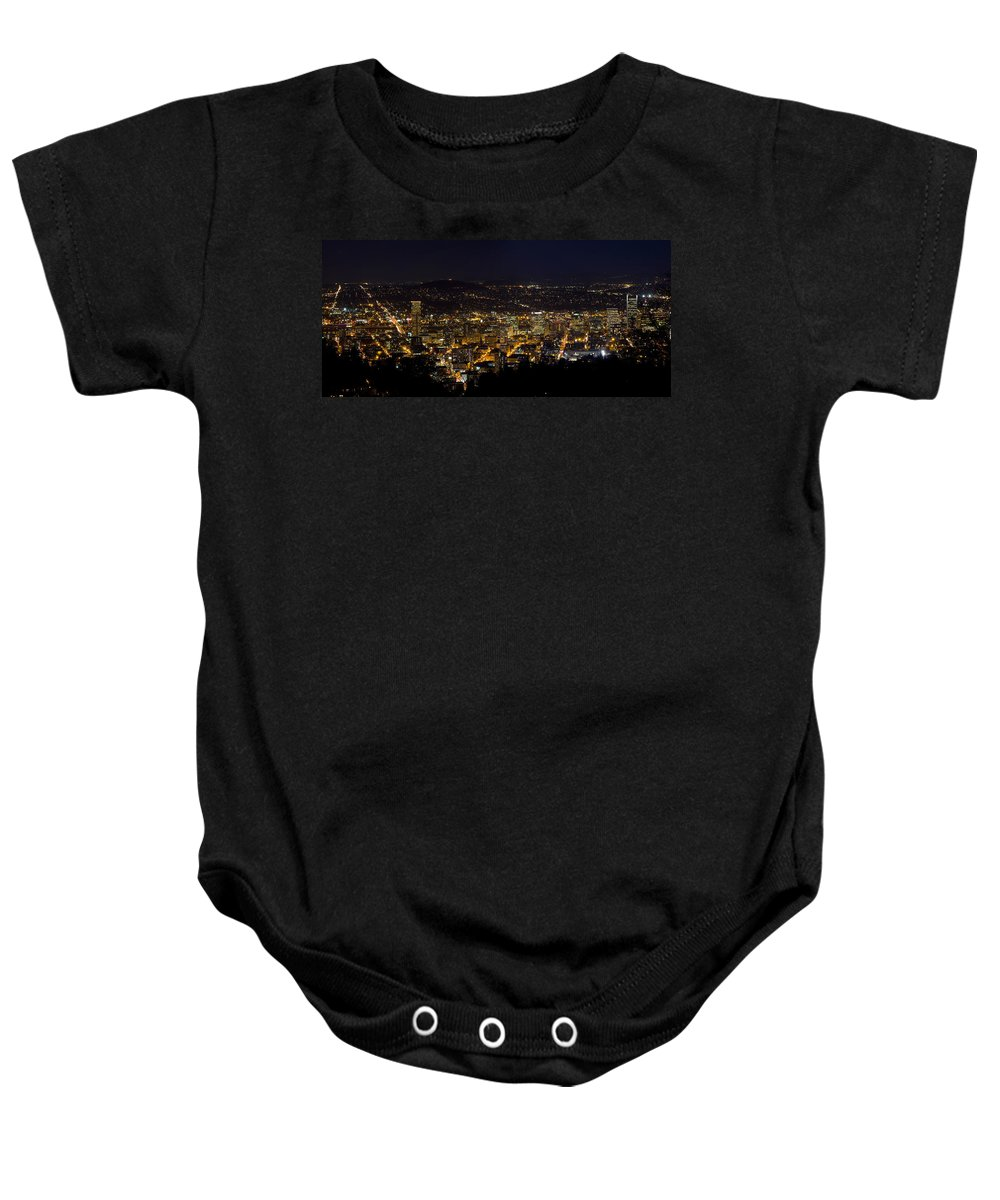 Portland Baby Onesie featuring the photograph Portland Oregon Downtown Cityscape At Night by Jit Lim