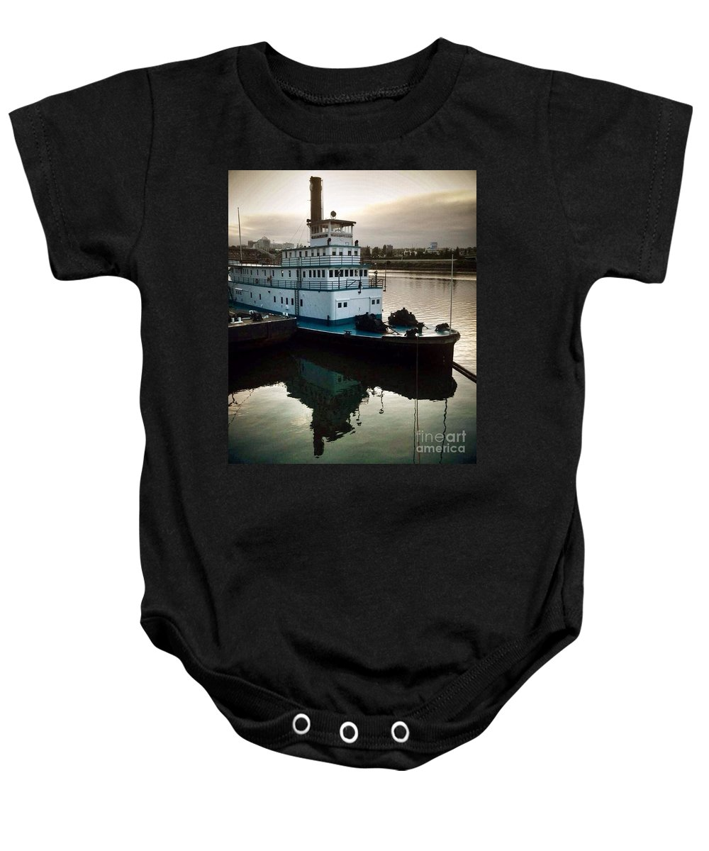 Tugboat Baby Onesie featuring the photograph Portland Steam Sternwheeler Tugboat by Susan Garren