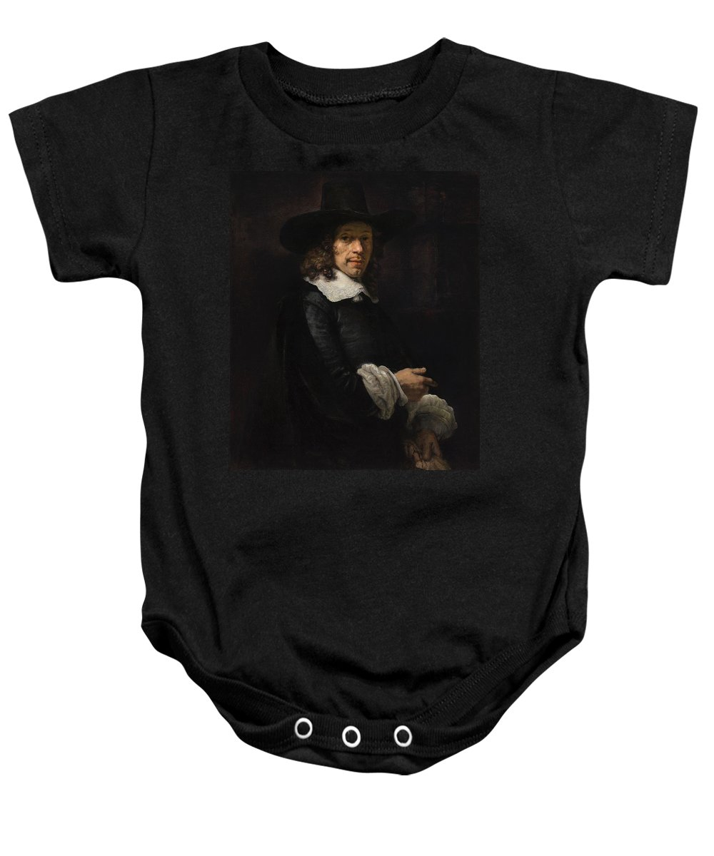 1658-1660 Baby Onesie featuring the painting Portrait Of A Gentleman With A Tall Hat And Gloves by Rembrandt van Rijn