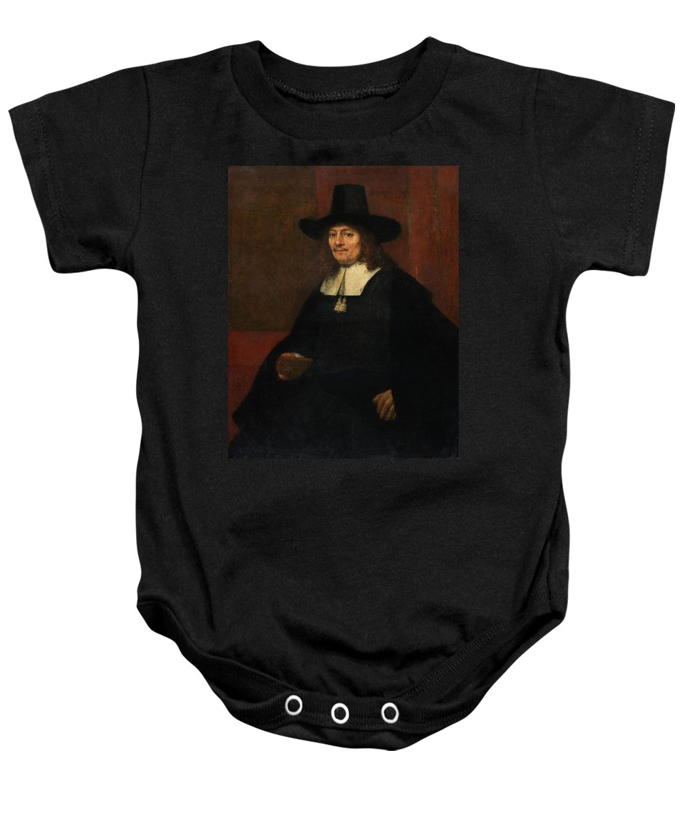 1663 Baby Onesie featuring the painting Portrait Of A Man In A Tall Hat by Rembrandt van Rijn