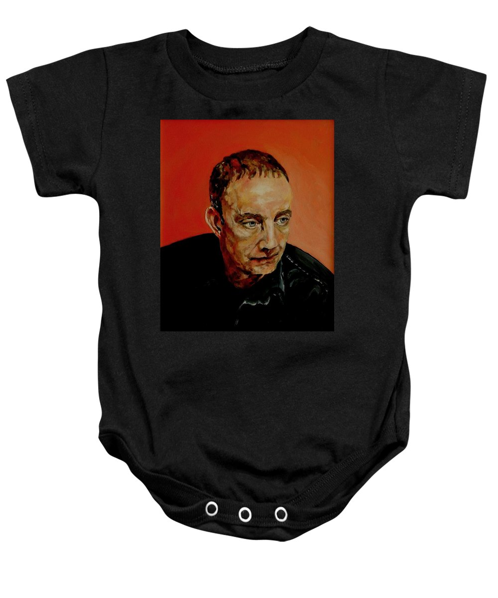 Portrait Baby Onesie featuring the painting Portrait Of A Man by Jolante Hesse
