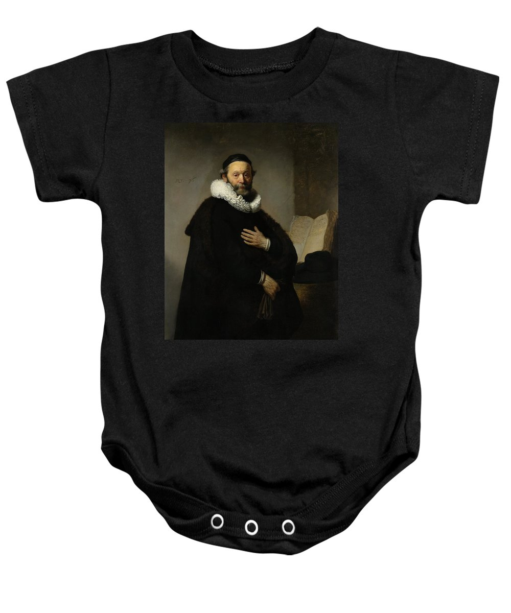 1633 Baby Onesie featuring the painting Portrait Of John Wtenbogaert by Rembrandt van Rijn