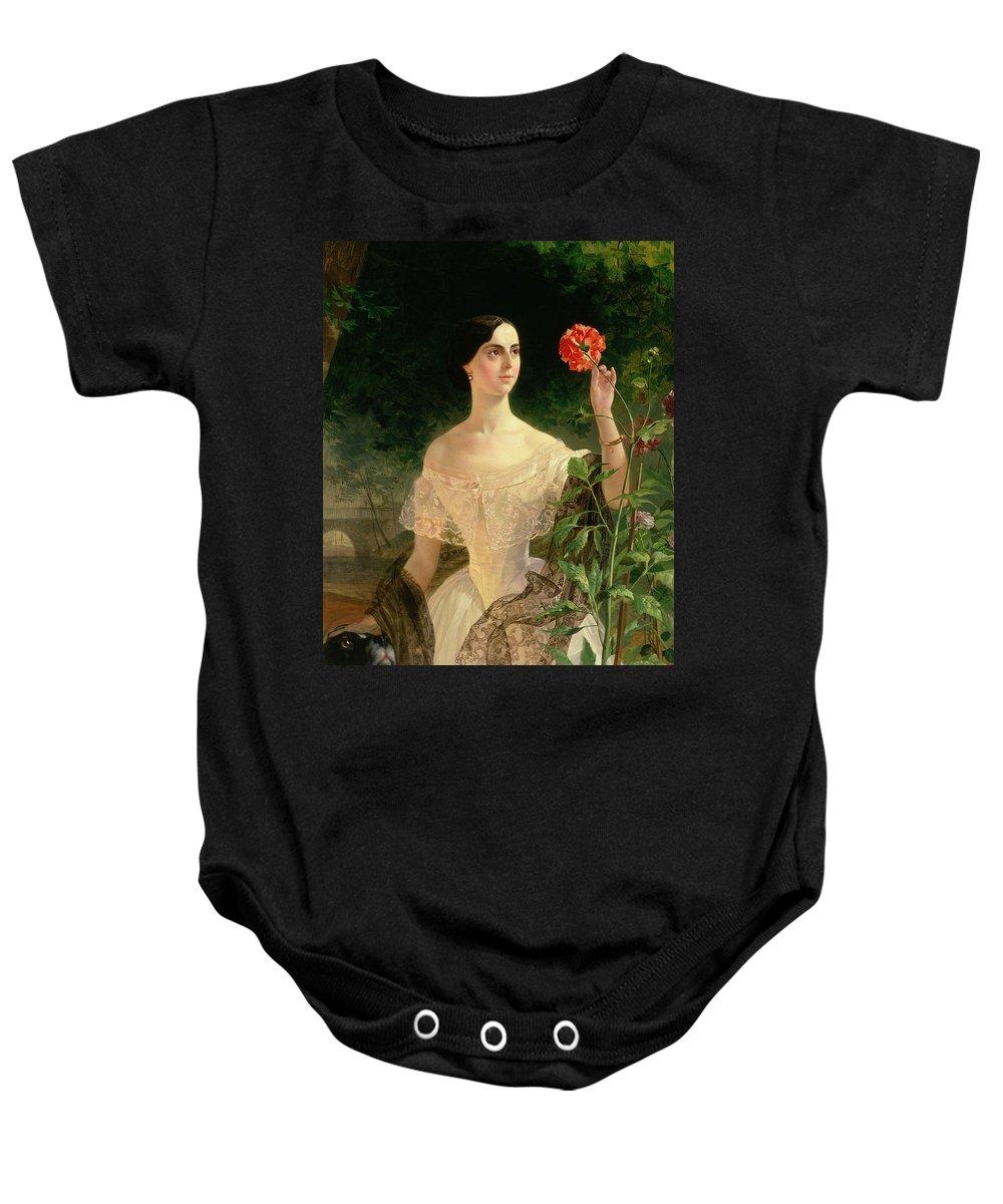 Female Baby Onesie featuring the painting Portrait Of Sofia Andreyevna Shuvalova by Karl Pavlovich Bryullov