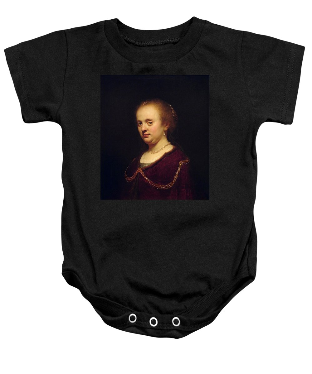 1634 Baby Onesie featuring the painting Portrait Of Young Lady by Rembrandt van Rijn