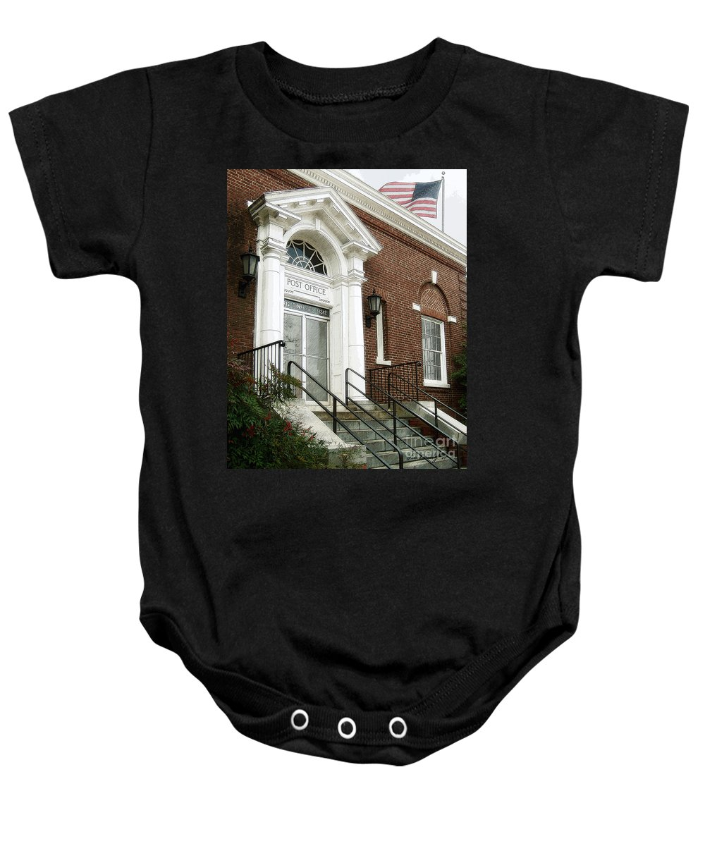 Windows On The Square Baby Onesie featuring the photograph Post Office 38242 by Lee Owenby
