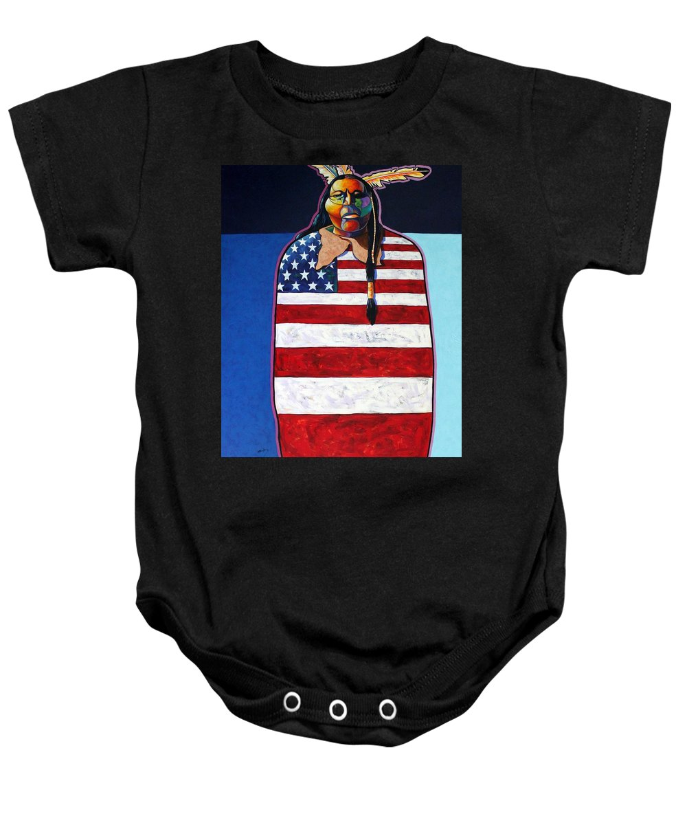 Native American Wrapped In Us Flag Baby Onesie featuring the painting Poverty Still Cracks The Whip by Joe Triano