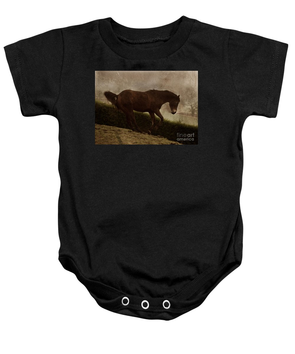Prancing Horse Baby Onesie featuring the photograph Prancing Horse by Angel Ciesniarska