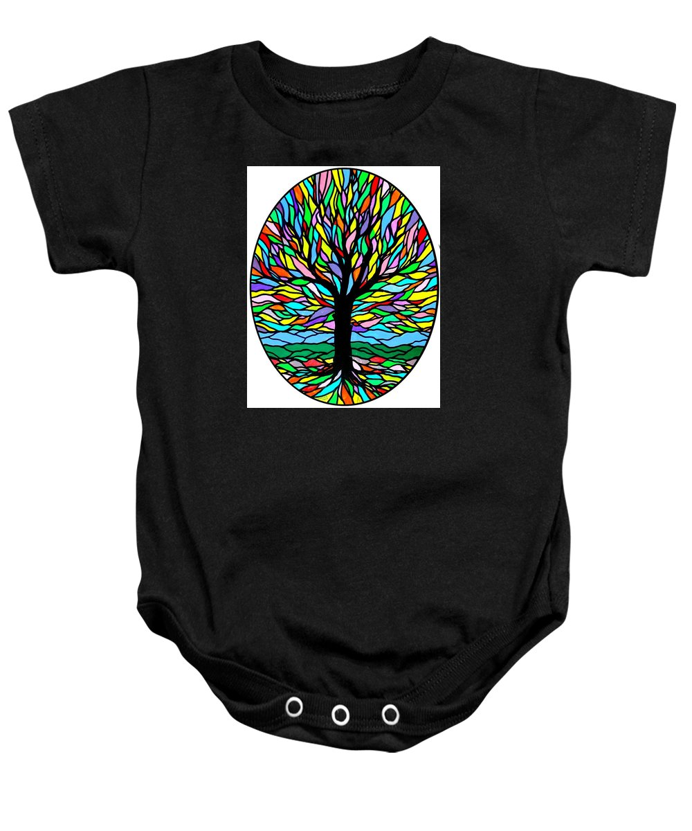 Tree Baby Onesie featuring the painting Prayer Tree by Jim Harris