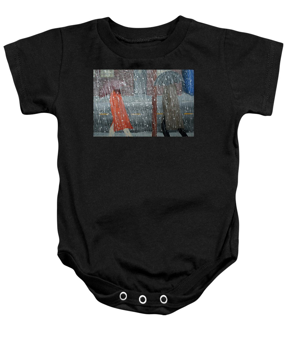 Art Baby Onesie featuring the painting Precipitous Afternoon by Ric Bascobert