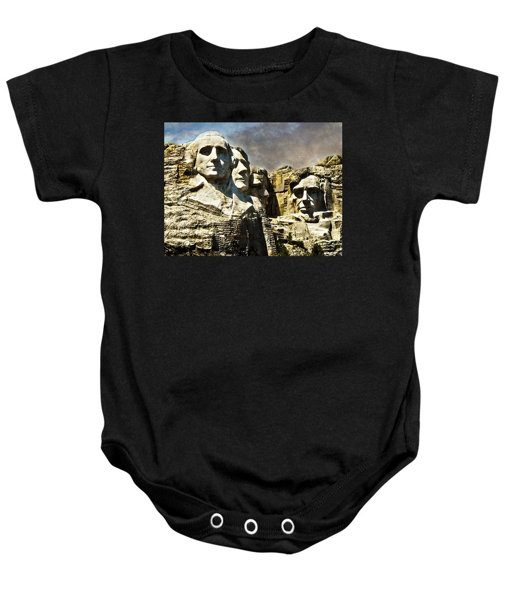 Rushmore Baby Onesie featuring the photograph Presidential Rocks by Judy Hall-Folde