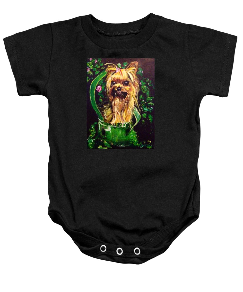 Silky Terrier Baby Onesie featuring the painting Pretty Bambi by Belinda Low