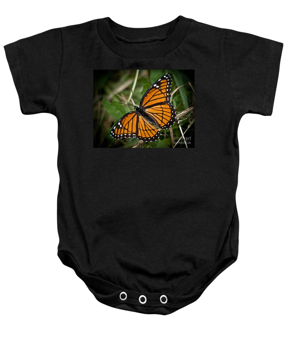 Monarch Baby Onesie featuring the photograph Pretty Monarch by Cheryl Baxter