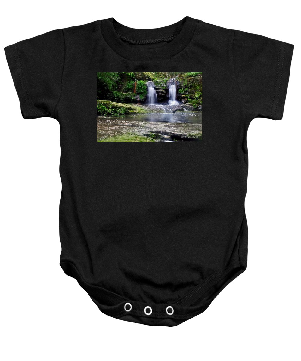Photography Baby Onesie featuring the photograph Pretty Waterfalls In Rainforest by Kaye Menner