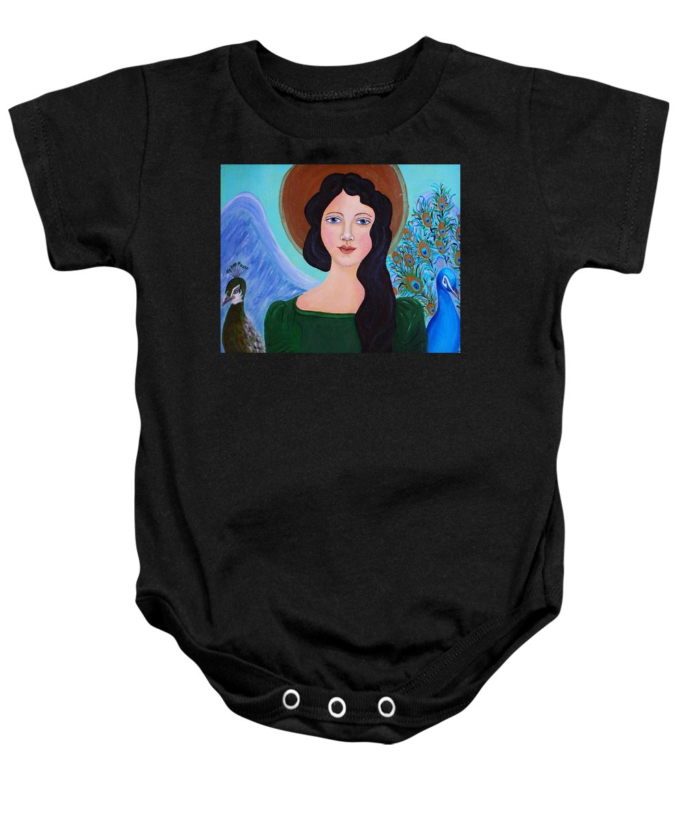 Folk Angel Baby Onesie featuring the painting Priscilla The Balancing Angel Of Love by The Art With A Heart By Charlotte Phillips