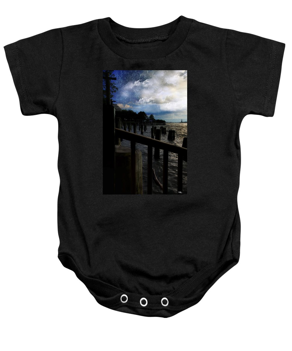 Evie Baby Onesie featuring the photograph Promenade At The Hudson River New York City by Evie Carrier