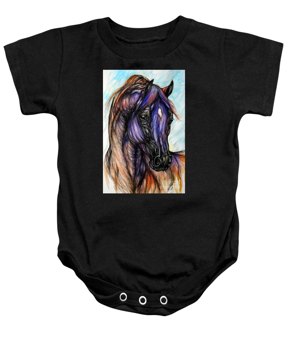 Horse Baby Onesie featuring the painting Psychedelic Blue And Orange by Angel Ciesniarska