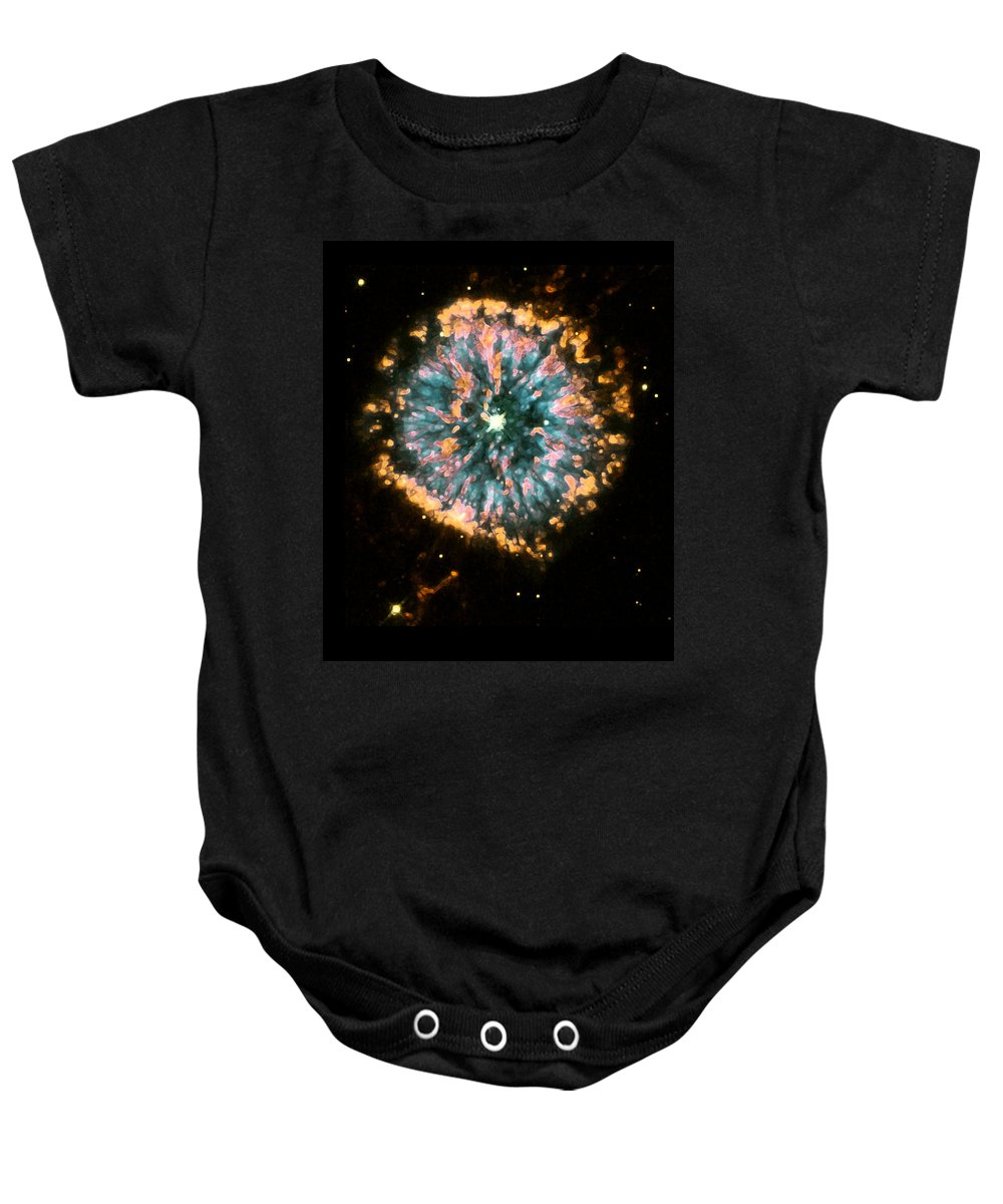 Nebula Baby Onesie featuring the photograph Psychedelic Dandelion by Jennifer Rondinelli Reilly - Fine Art Photography