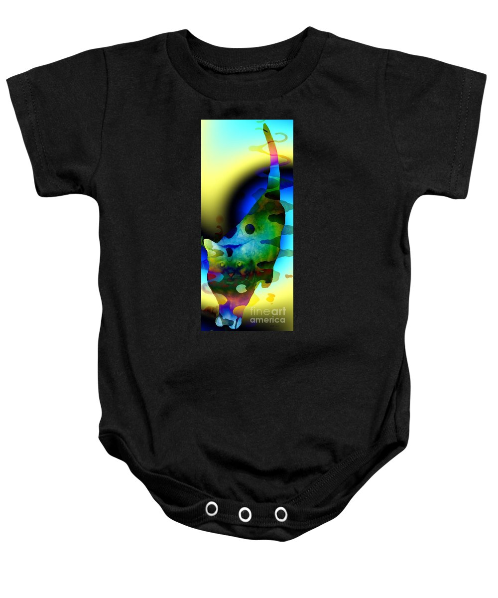 Psychedelic Kitty Baby Onesie featuring the digital art Psychedelic Kitty by Elizabeth McTaggart