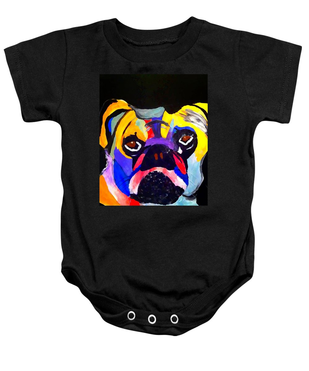 Pug Power Pop Baby Onesie featuring the painting Pug Power Pup I by Saundra Myles
