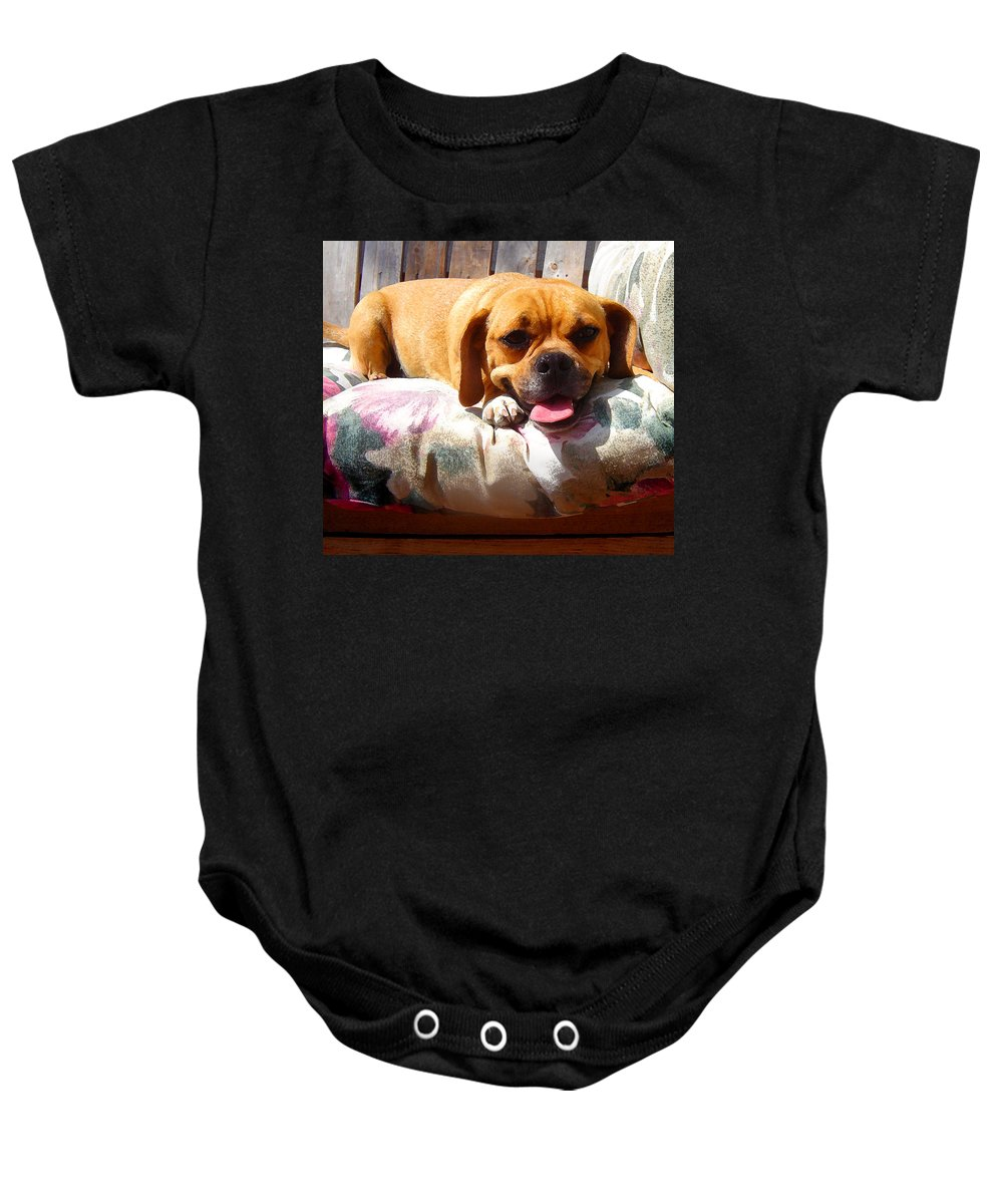 Animal Baby Onesie featuring the painting Puggle Lounging by Amy Vangsgard