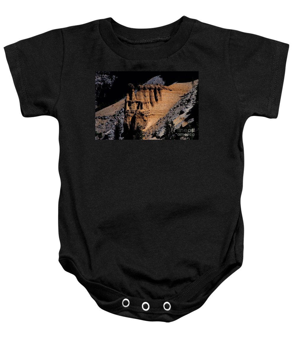 Pumice Castle Baby Onesie featuring the photograph Pumice Castle II by Sharon Elliott