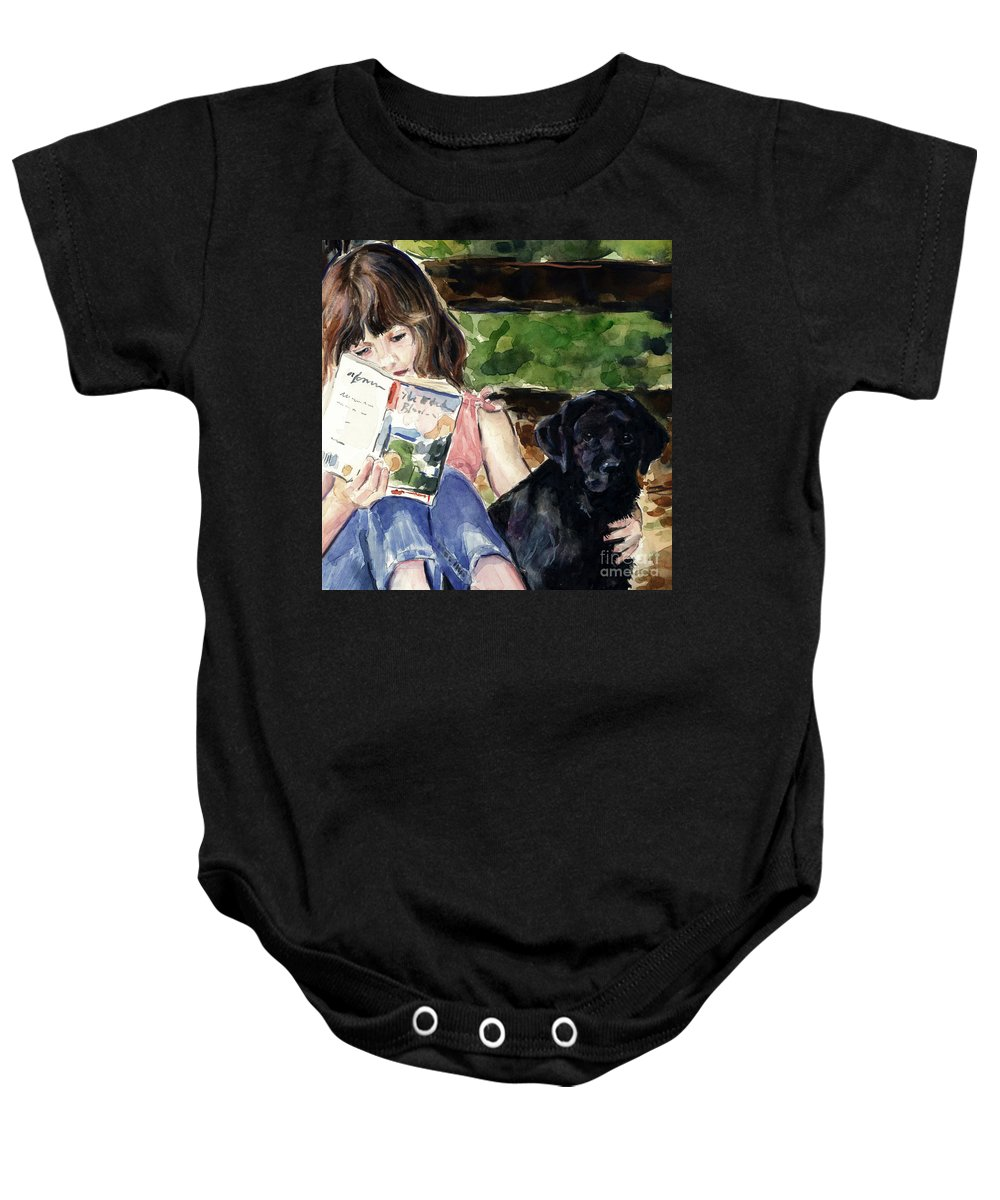 Black Lab Puppy Baby Onesie featuring the painting Pup And Paperback by Molly Poole