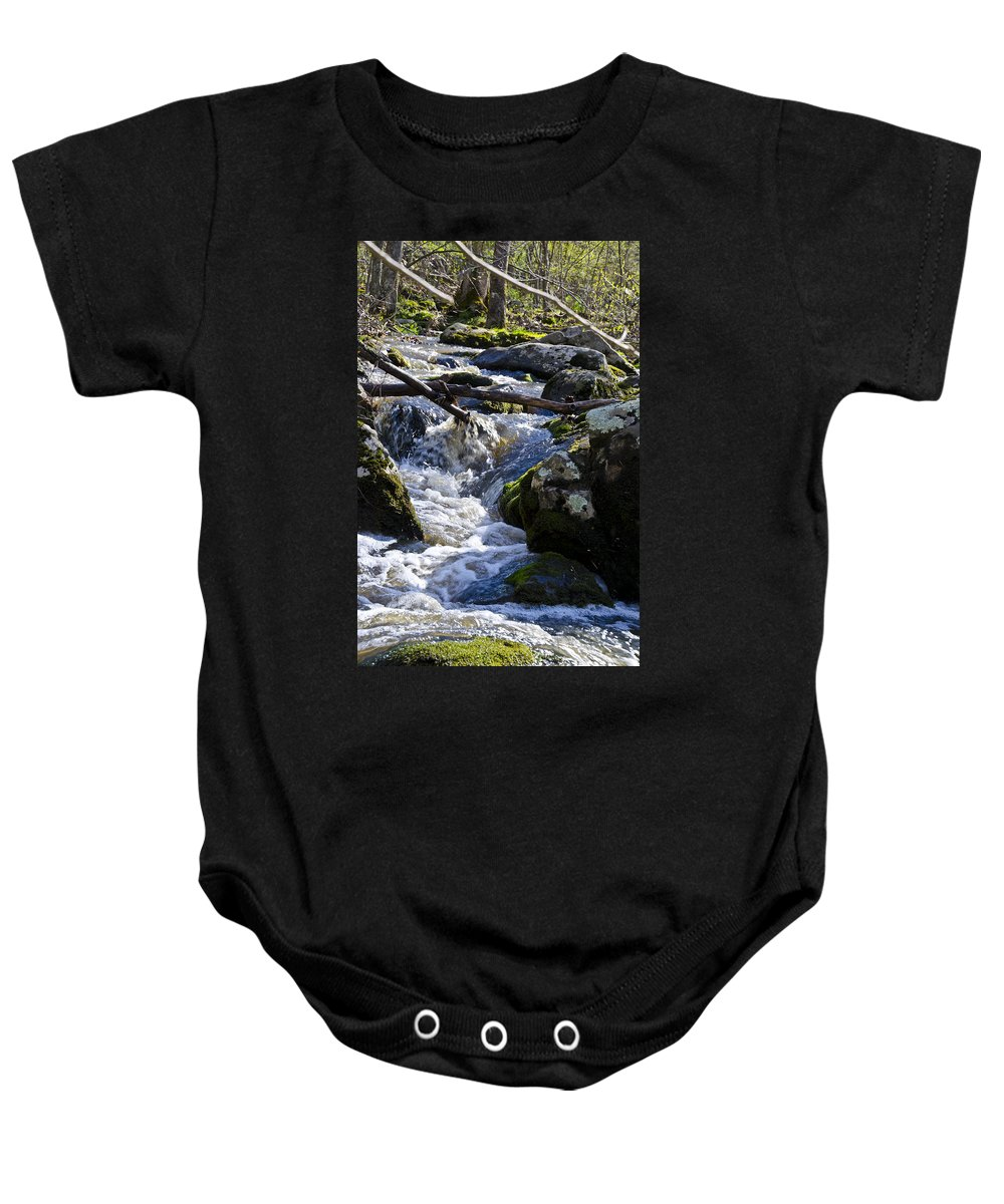 Pure Baby Onesie featuring the photograph Pure Mountain Stream by Bill Cannon