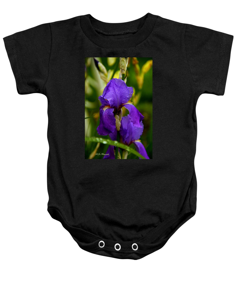 Iris Baby Onesie featuring the photograph Purple Rain by Jeanette C Landstrom