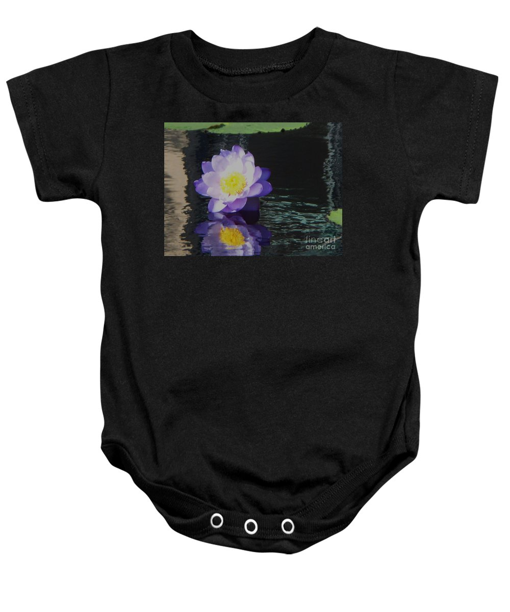 Photograph Baby Onesie featuring the photograph Purple White Yellow Lily by Eric Schiabor