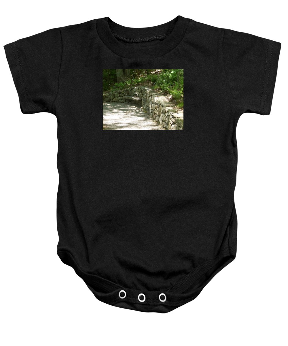 Framingham Baby Onesie featuring the photograph Bench In A Stone Wall by Catherine Gagne