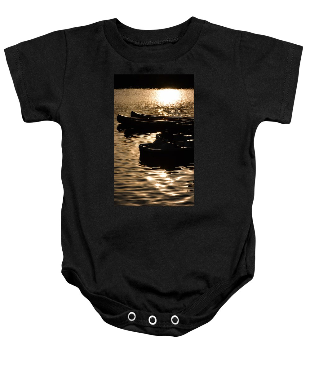 Boats Baby Onesie featuring the photograph Quiet Waters At Sunset by Donna Haggerty