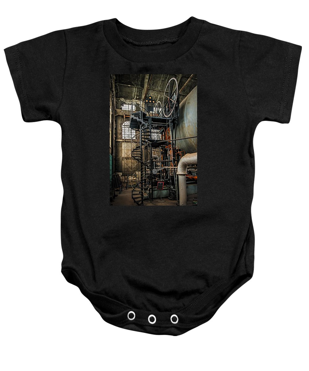 Quincy Baby Onesie featuring the photograph Quincy Mine Hoist by Paul Freidlund