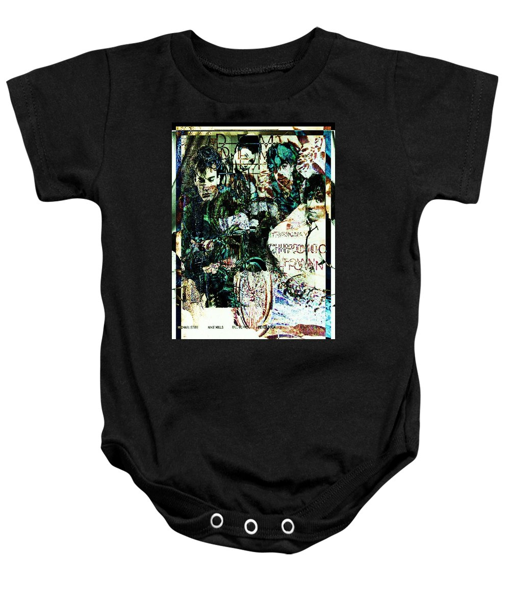 Fractal Art Baby Onesie featuring the digital art R E M / Exit Chronic Town by Elizabeth McTaggart