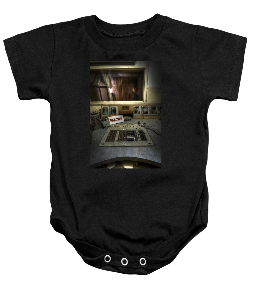 Abandoned Baby Onesie featuring the digital art Radio Soviet One by Nathan Wright