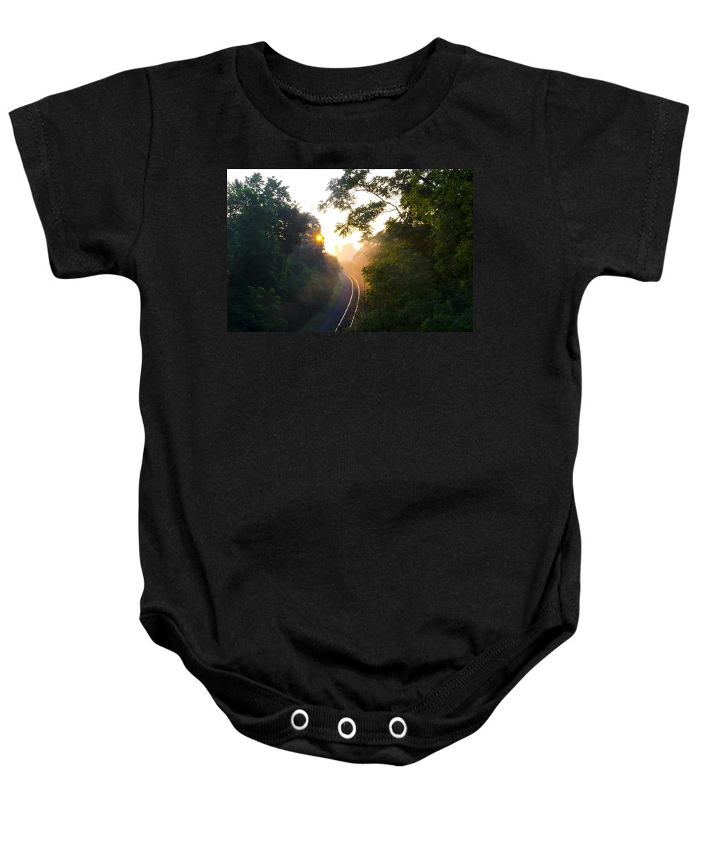 Rail Baby Onesie featuring the photograph Rail Road Sunrise by Bill Cannon