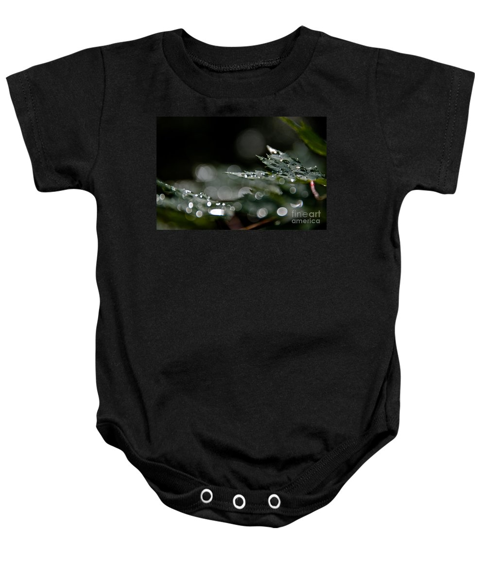 Leaves Baby Onesie featuring the photograph Rain Drop Bokeh by Cheryl Baxter