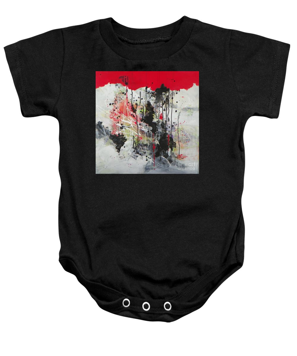 Abstract Expressionism Baby Onesie featuring the painting Rain Drops by Donna Frost