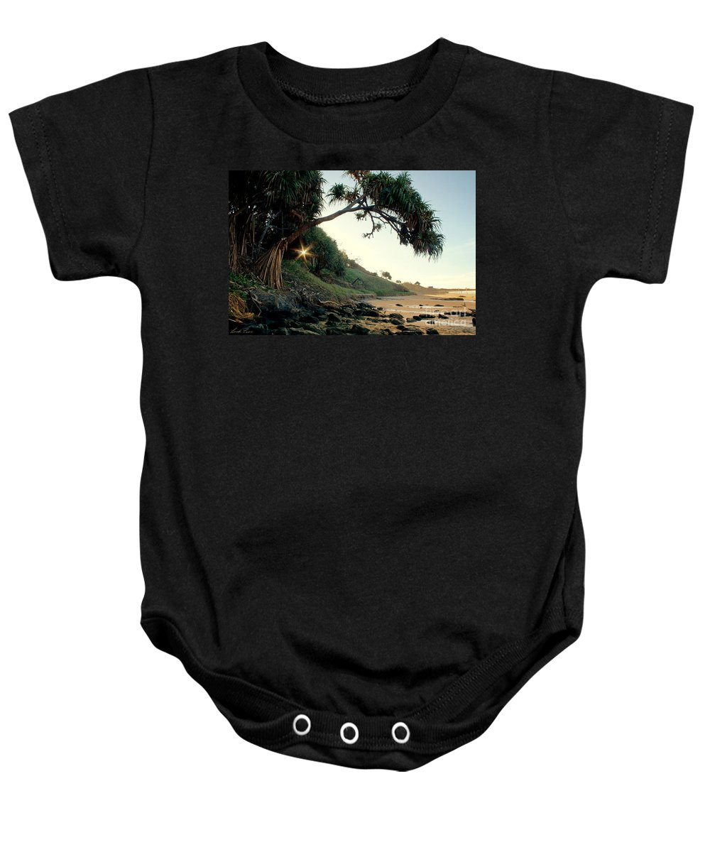Beach Baby Onesie featuring the photograph Rainbow Beach by Linda Lees