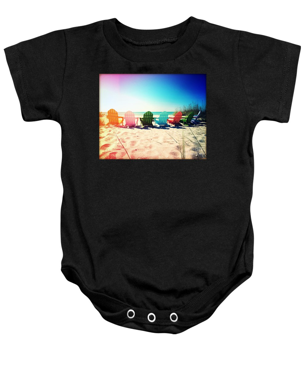 Florida Baby Onesie featuring the photograph Rainbow Beach Photography Light Leaks1 by Chris Andruskiewicz