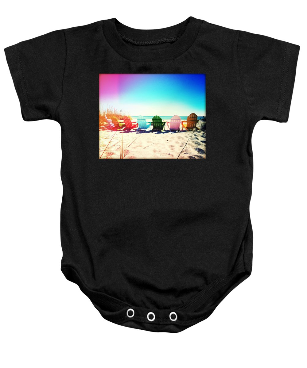 Florida Baby Onesie featuring the photograph Rainbow Beach Photography Light Leaks2 by Chris Andruskiewicz