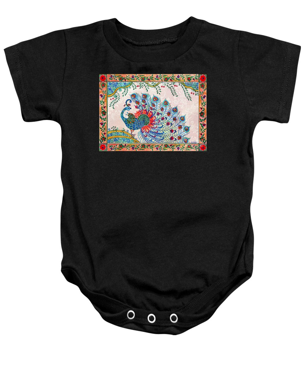 Baby Onesie featuring the painting Rainbow Feathers by Anjali Vaidya